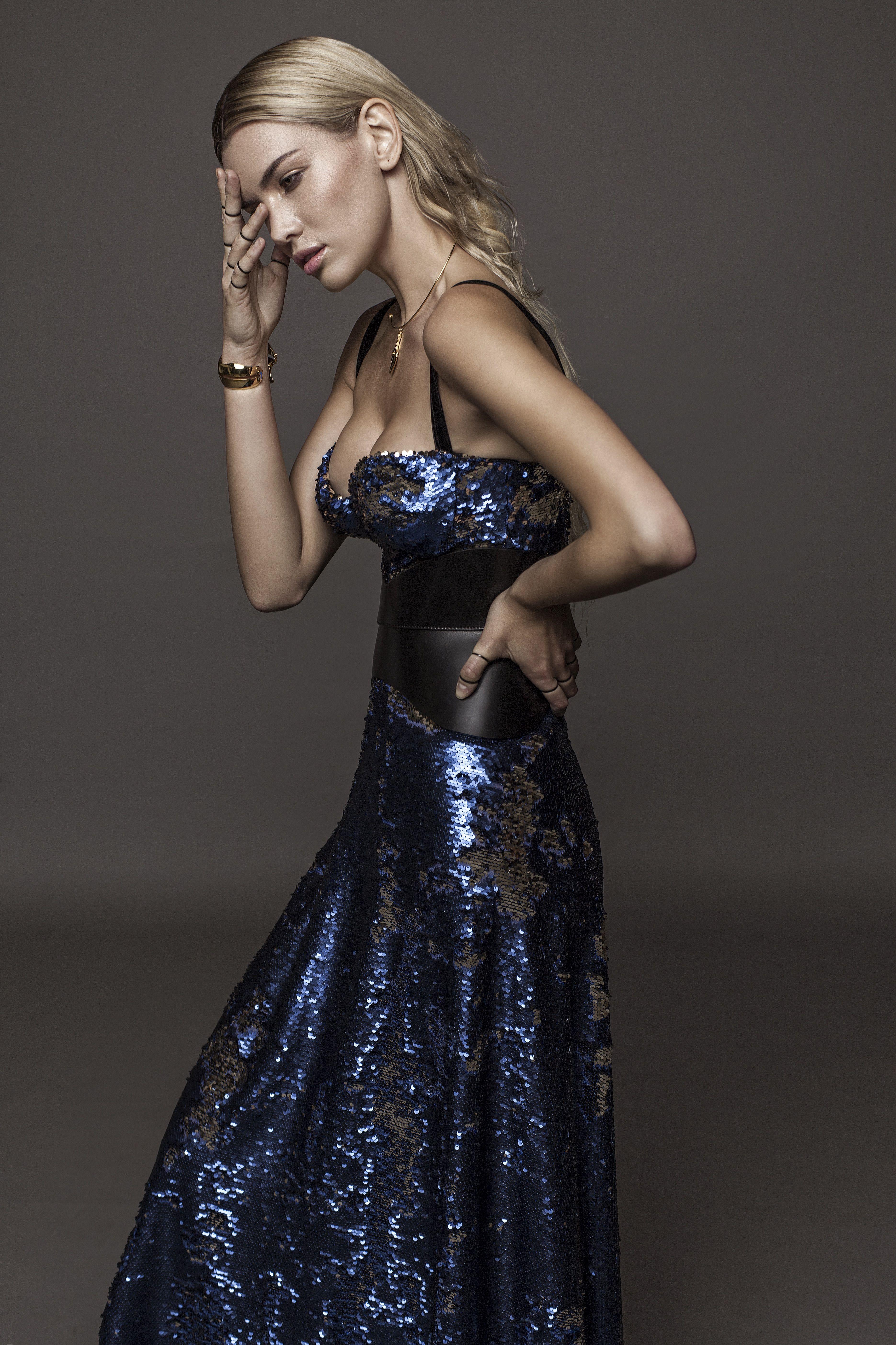 Sequin Midnight Blue Corset Gown