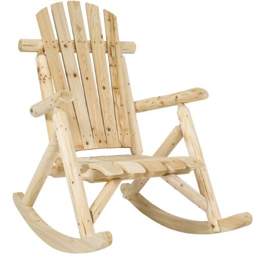 Best Choice Products Wooden Log Rocking Chair Seat For Indoor Outdoor W Armrests Fanned Back Sloped Seat Natural Outdoor Rocking Chairs Rocking Chair Wooden Rocking Chairs