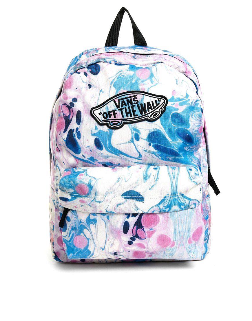 Vans Realm Backpack In Marble Print School Supplies