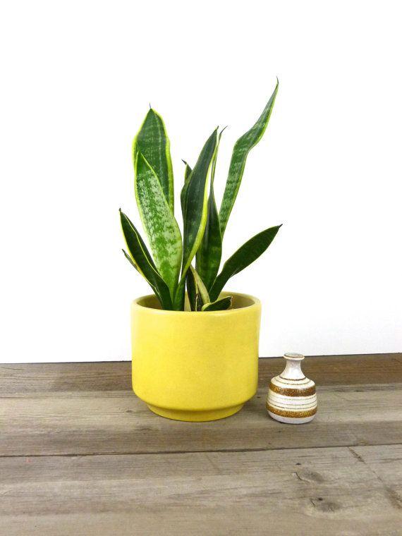 Large Mid Century Ceramic Planter Canary Yellow Gainey Ceramics La Verne
