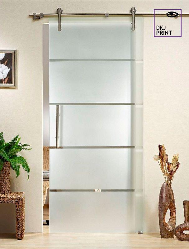 Adesivo jateado fosco transparente para portas modelo horizonte