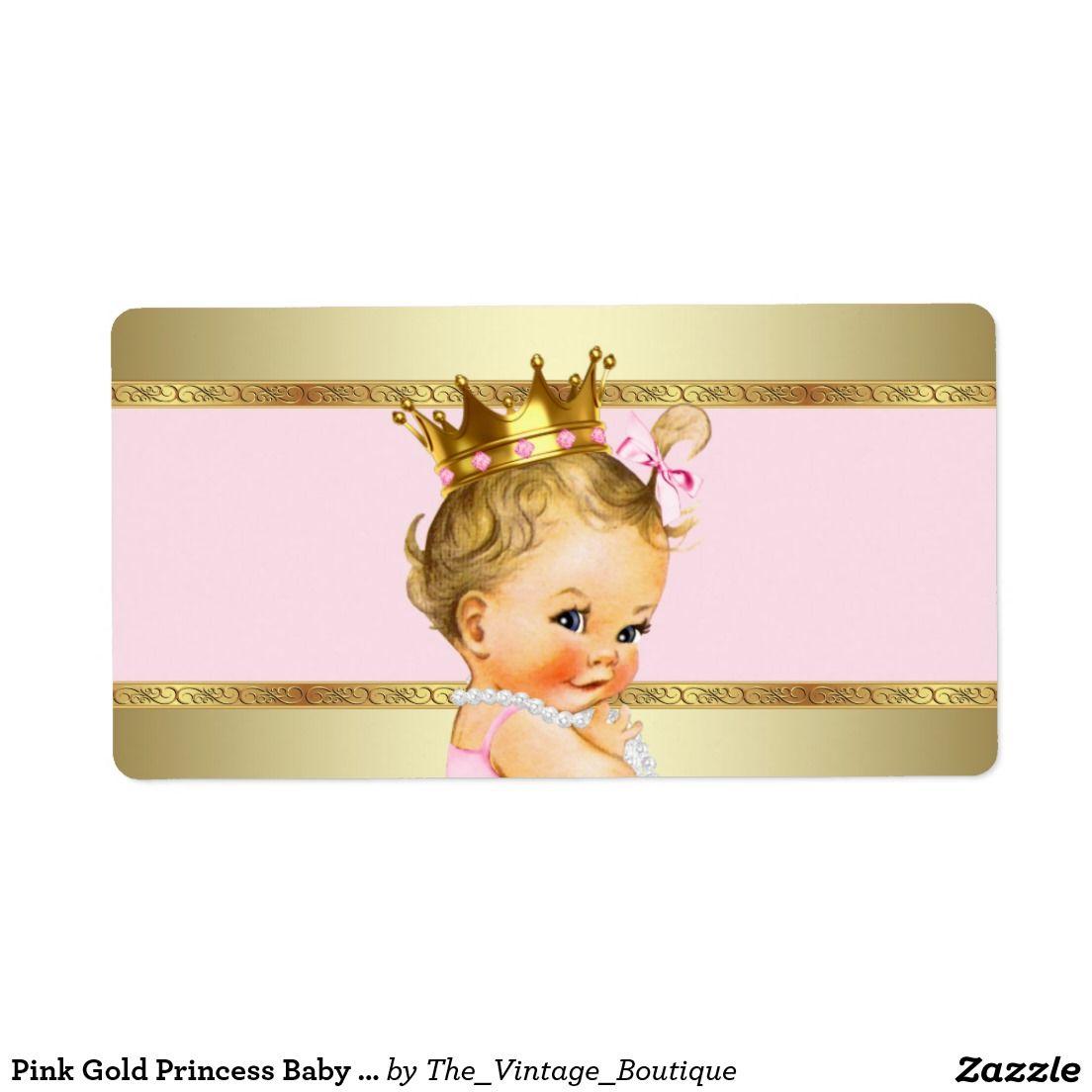 Pink Gold Princess Baby Shower Water Bottle Label Baby Shower