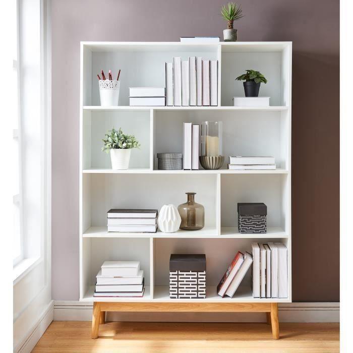 FROZEN Bibliothèque scandinave laquée blanc mat + piètement en pin ...