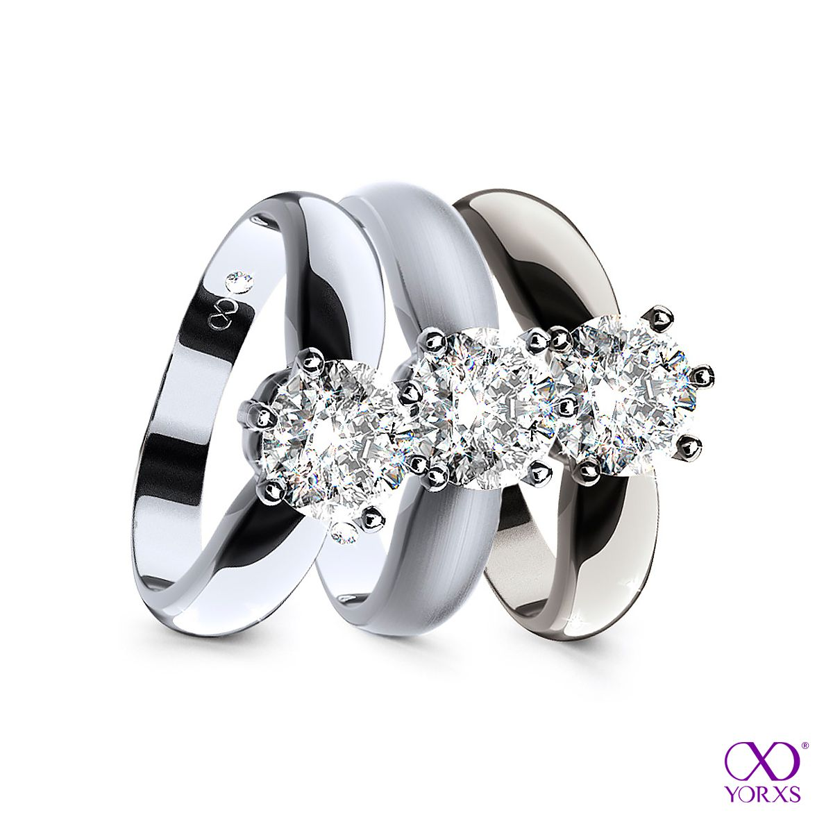 One ring in white gold - three different surfaces #Yorxs #Diamantring