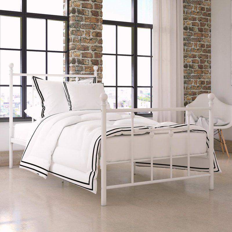 Lyster Platform Bed White Metal Bed Metal Beds Metal Platform Bed
