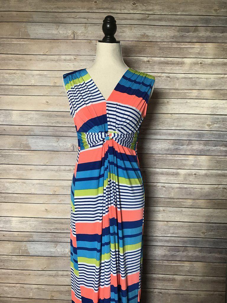 Bright Stripes Maxi Dress