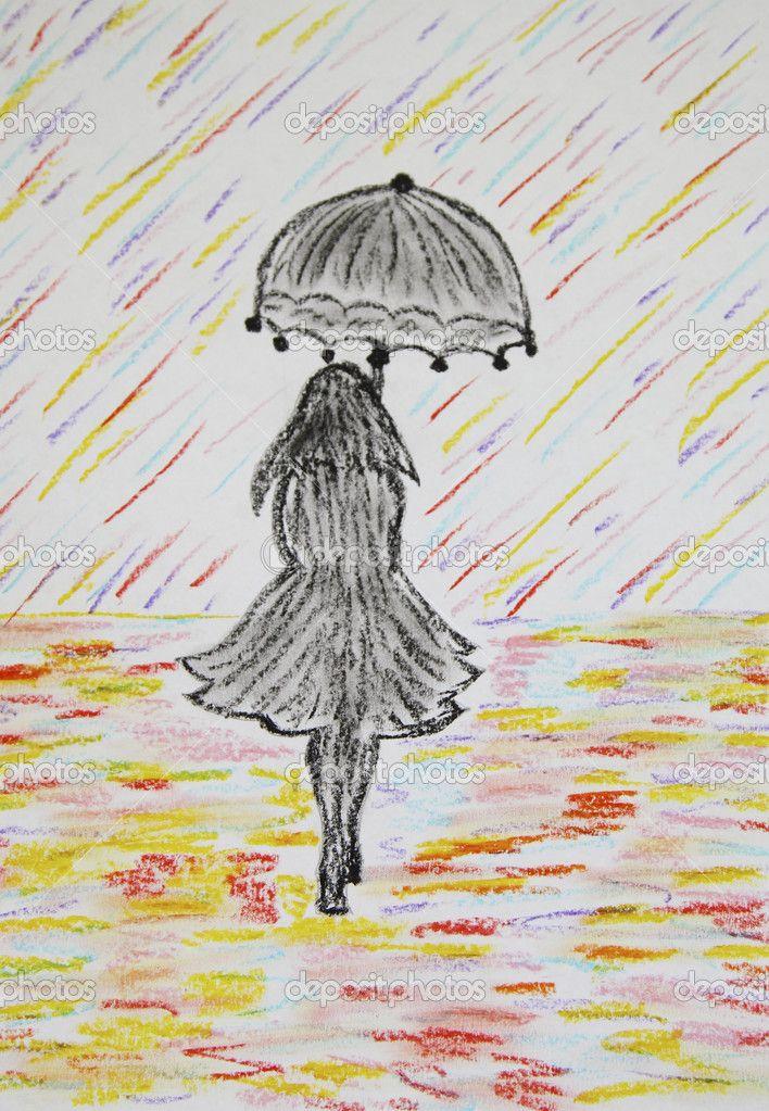 Chica Con Paraguas Va Bajo Una Lluvia De Color Pastel De Dibujo Lluvia Dibujos Dibujos Tiernos A Lapiz Lapices De Colores Dibujos