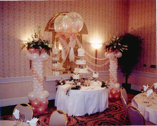 Cake Table Balloon Decor Wedding Balloon Decorations Wedding Columns Wedding Balloons