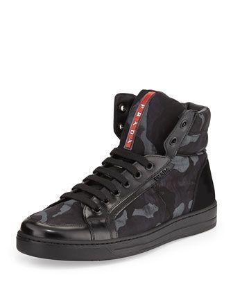 Prada Camo-Print High-Top Sneaker, Blue
