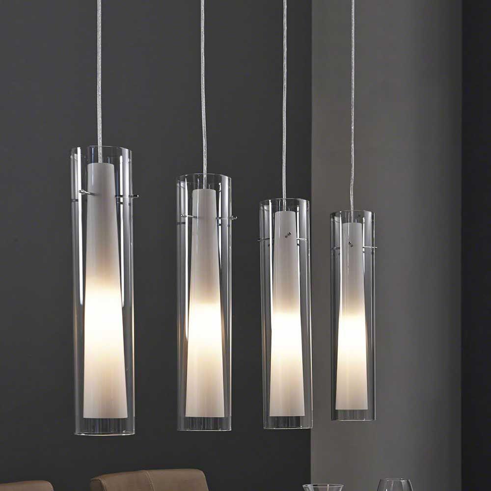 Design Pendelleuchte Berga aus satiniertem Glas zylinderförmig ...