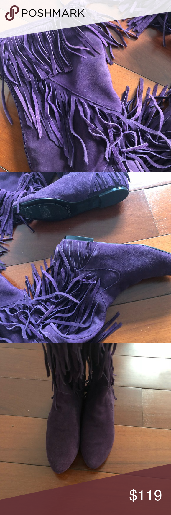 78535d28cef98b Sam Edelman fringe boots 7.5 Over the knee height Purple suede with fringe  Back zipper Fabric lining Sam Edelman Shoes Over the Knee Boots