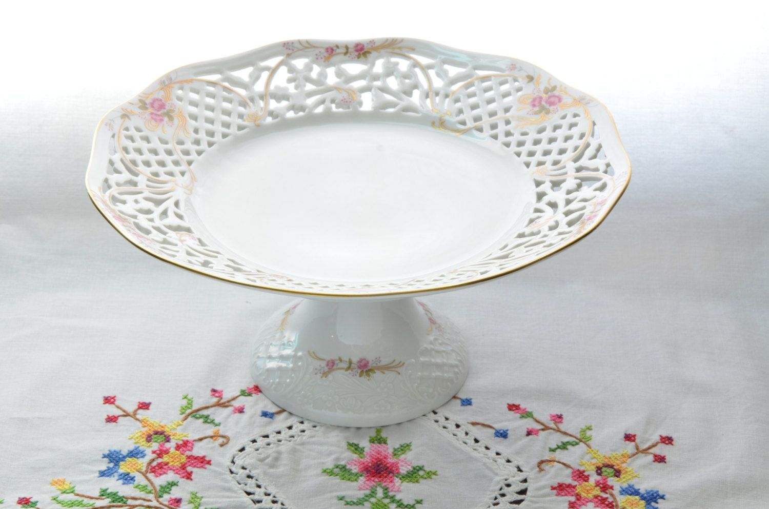 Oscar De La A Fine China Cake Stand Reticulated Uh 106 Rose West Germany By Vieuxcharmes On Etsy