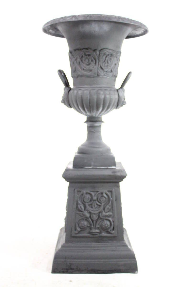 Estate Urn On Pedestal The 41 Inch Cast Iron 2 Piece Tropical Urn Flower Planter Flower Planters Urn Planters