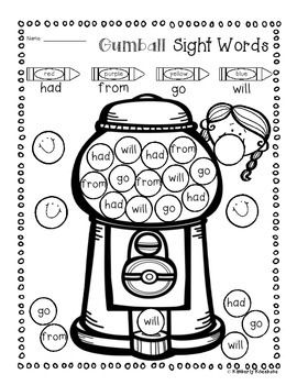 Bubble Gum Sight Word Mega Bundle Practice (Primer / 1st