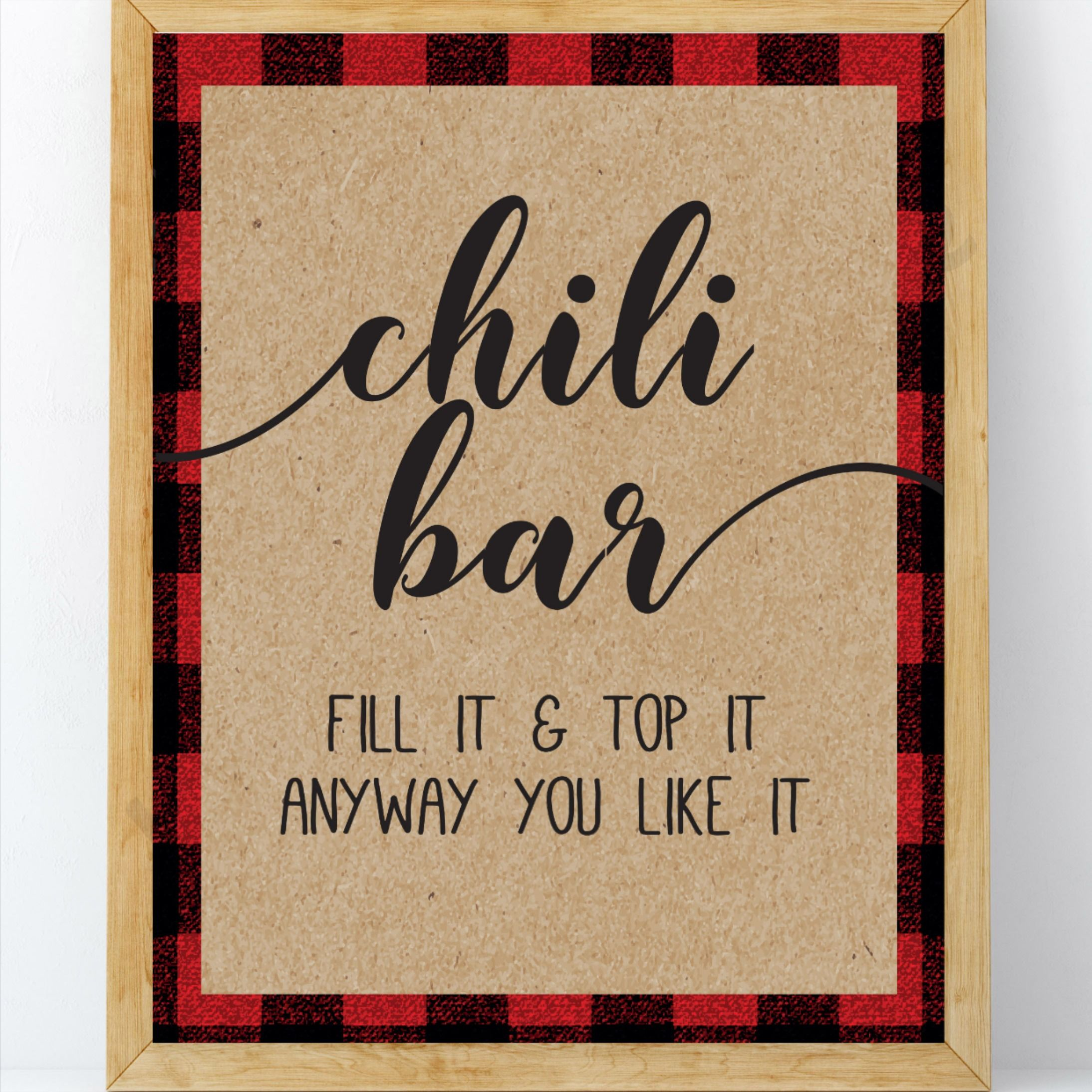 Chili Bar Baby Shower Sign, Chili Station, Lumberjack Baby Shower Sign, Winter Baby Shower