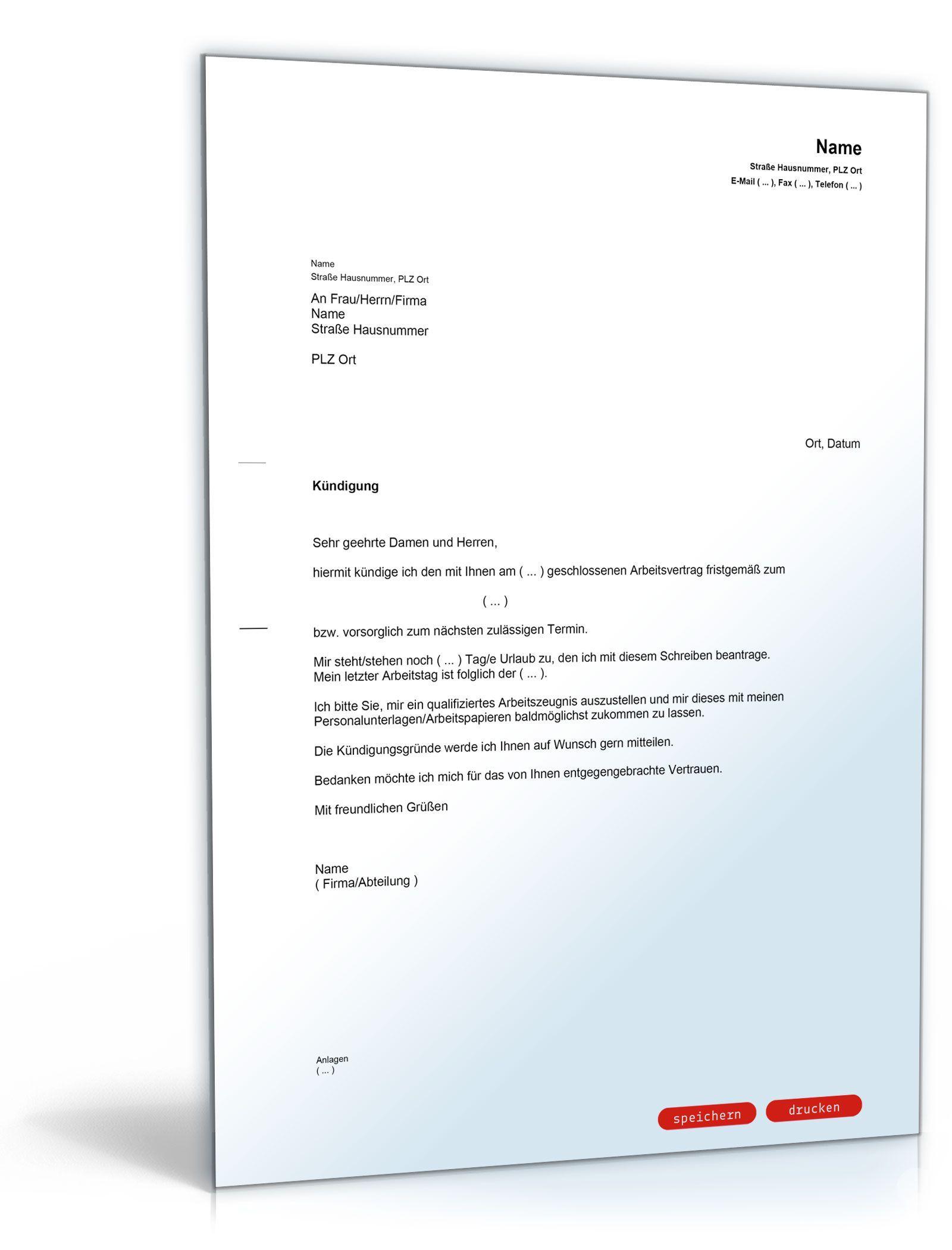 Kündigung Vorlage Arbeitsvertrag Kostenlos Briefe Kündigung