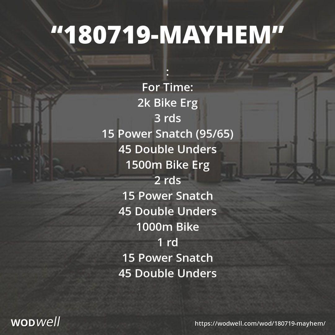 180719 Mayhem Workout Crossfit Wod Wodwell Wod Workout Double Unders Wod