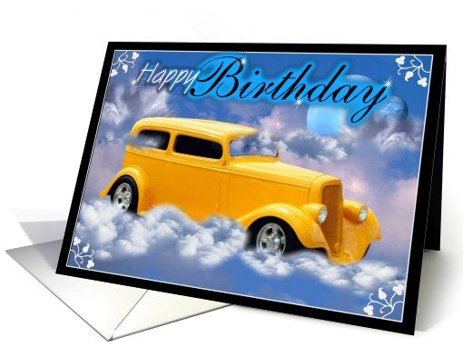 Yellow Classic Car Wishes You A Happy Birthday Card Word Order