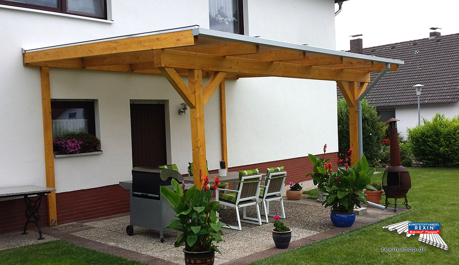 Ein HolzTerrassendach der Marke 5m x 4m mit
