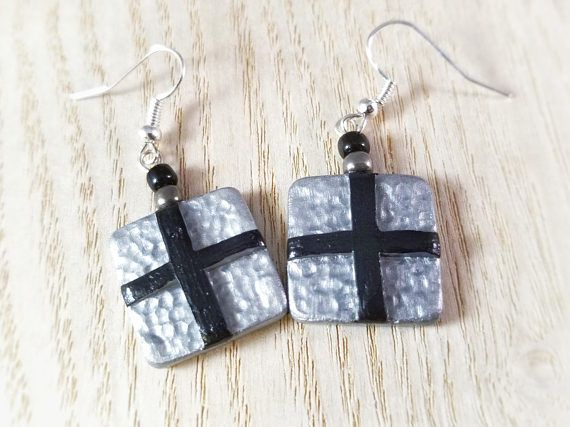 Black and Silver Abstract Art Earrings Jewelry, Hand Painted, Polymer Clay, Silver Dangle Earrings