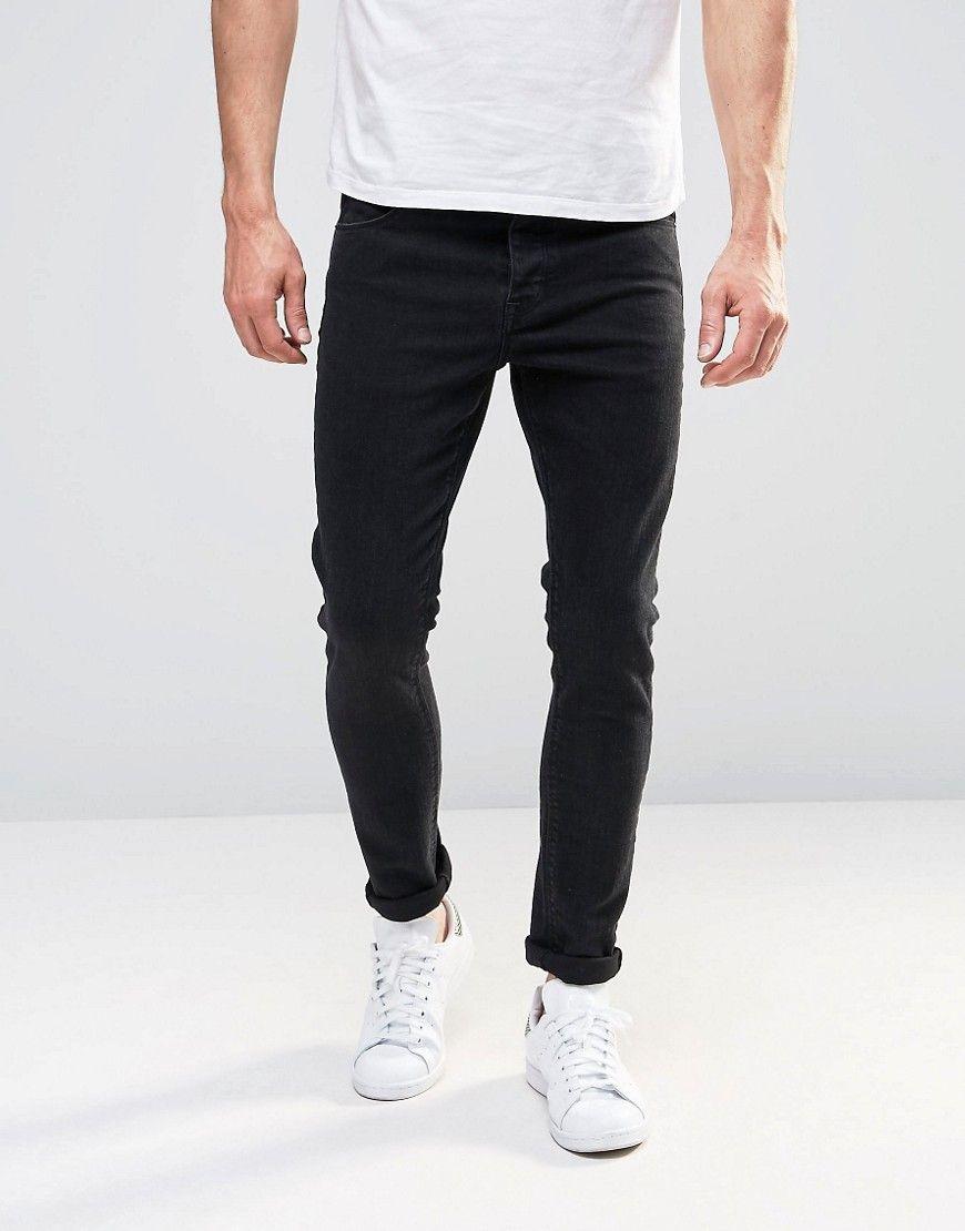 ASOS Super Skinny Jeans In 12.5oz True Black - Black
