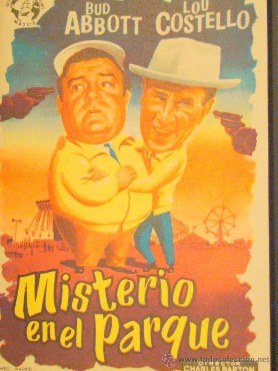MISTERIO EN EL PARQUE, ABBOT Y COSTELLO, C/P DE TAMPON CINE ALKAZAR TANGER. ESTA PERFECTO.
