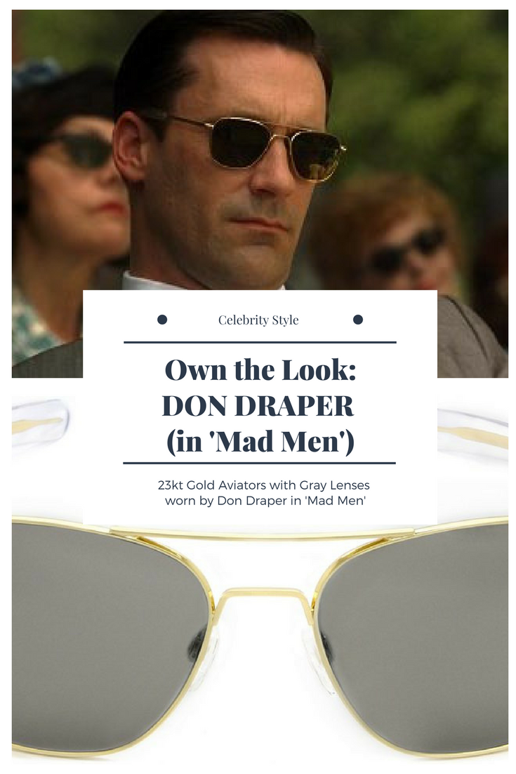 Check out the style of Don Draper in Mad Men with these 23kt Gold Aviator  Sunglasses Photo  AMC 32b0de53a5c7