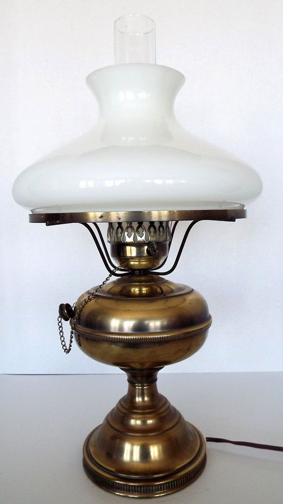 Vintage Br Oil Lamp Milk Gl Shade