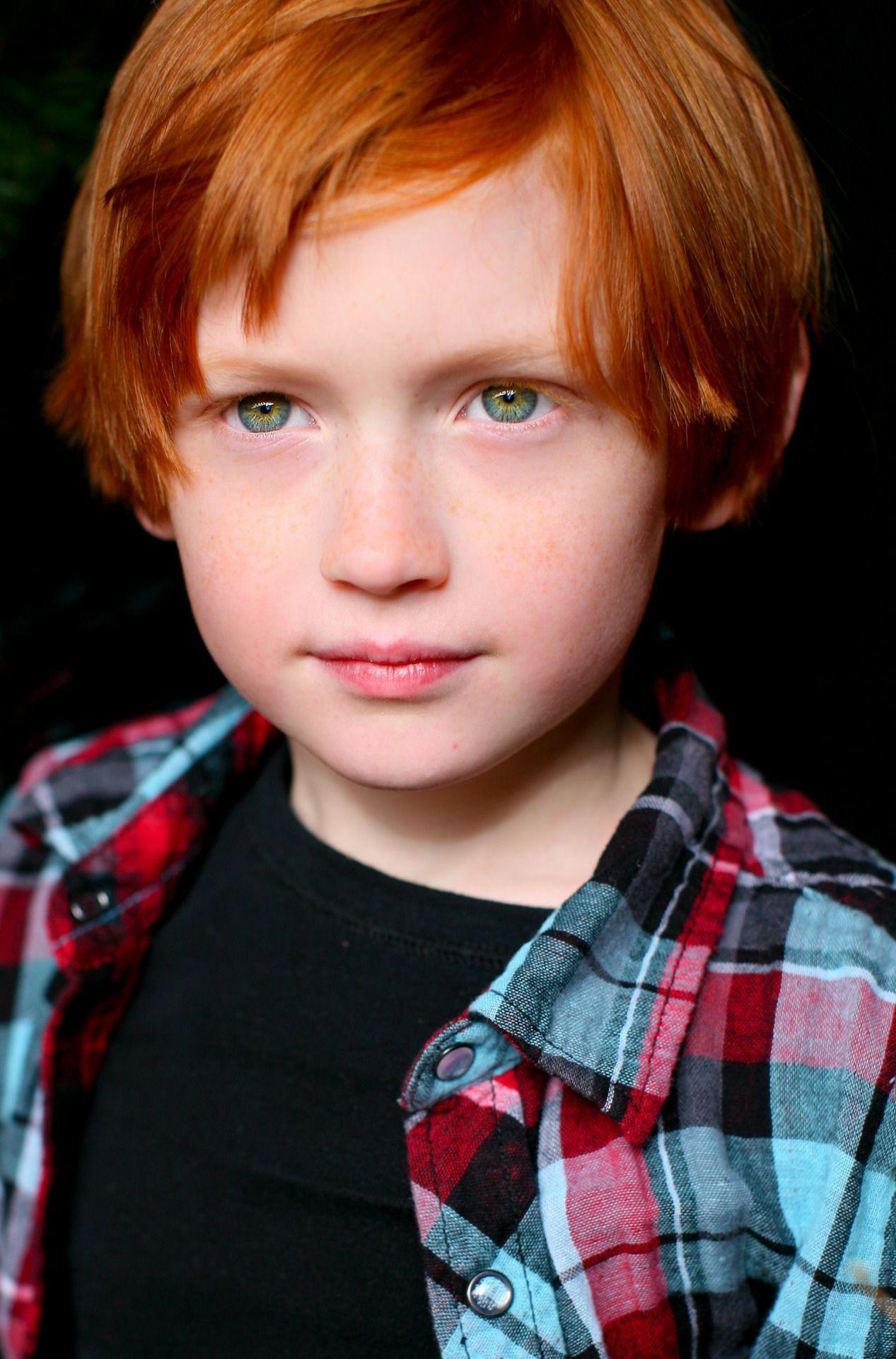 Red hair & green eyes