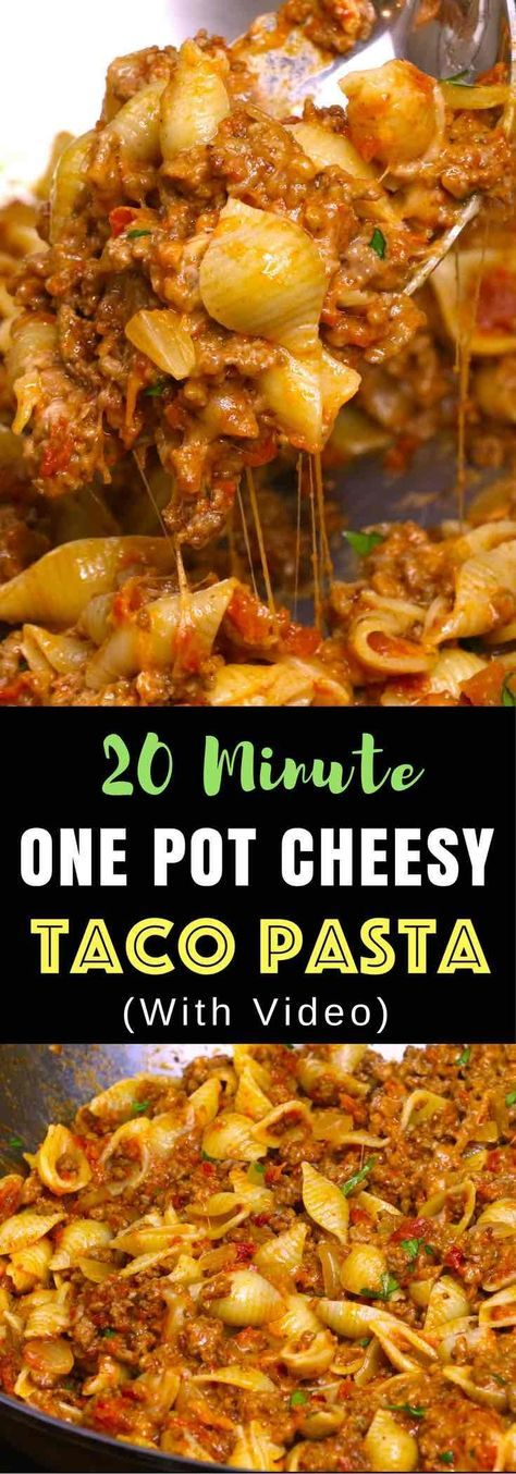 One-pot Cheesy Taco Pasta – One of the easiest quick dinner recipes. It's loaded with ground beef and shredded cheddar cheese. So delicious. This simple and easy recipe comes together in 20 minutes. Quick and easy recipe. Video recipe. #tacomacandcheese