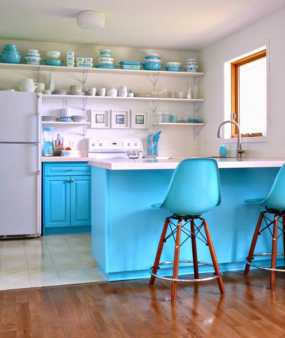 Draw Color Inspiration From A Favorite Collection We Love The Blue Cabinets Inspired By A Vint Turquoise Kitchen Decor Aqua Kitchen Turquoise Kitchen Cabinets