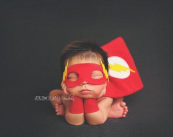 Newborn Superhero Flash Costume for Newborn baby boy - Photography Prop - Flash - DC Comics & Newborn Superhero Flash Costume for Newborn baby boy - Photography ...