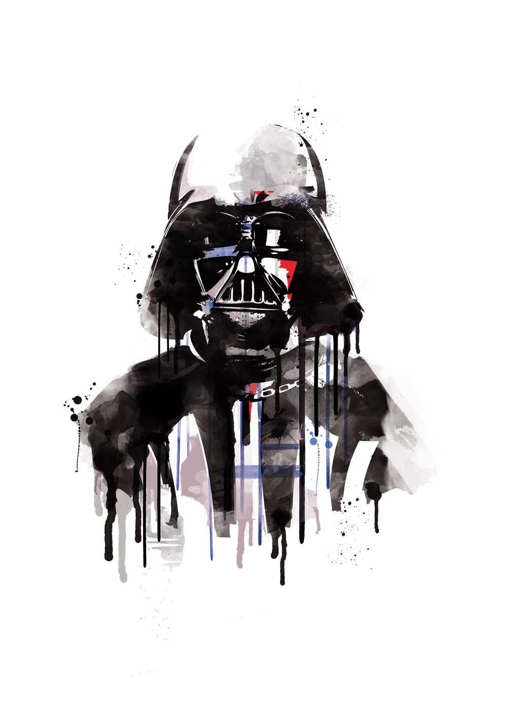 watercolor darth vader star wars alternative poster scifi