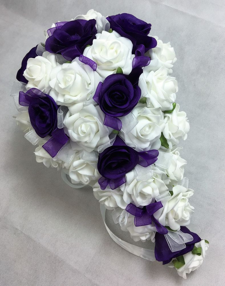 Artificial silk flower purple roses white foam roses