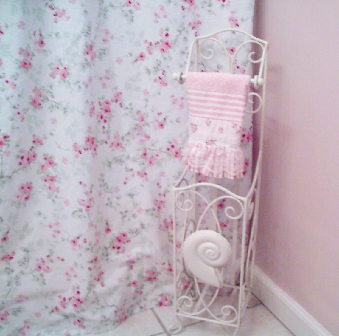 Awesome Pink Roses Shabby Chic Shower Curtain Paired With White Iron Bath Storage As Well