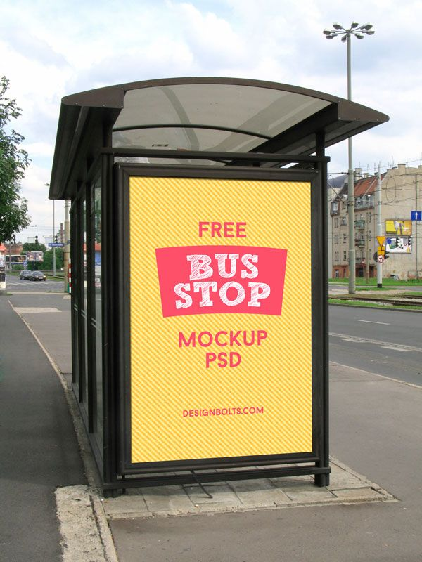 2 Free Hq Outdoor Advertising Bus Shelter Mock Up Psd Files Mockup