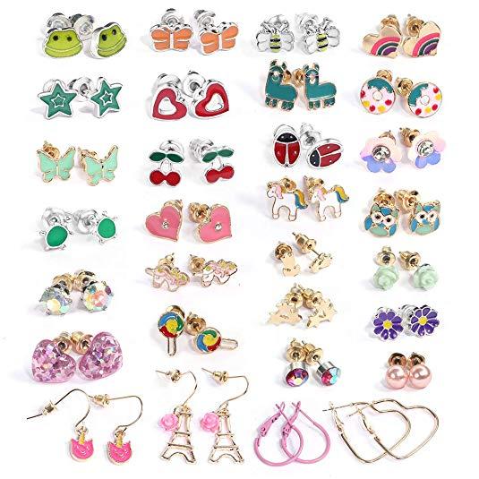 pair Stainless Steel Star Flower Stud Earrings