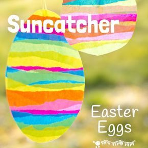 A bright and cheerful Easter Egg Suncatcher Craft with tissue paper. They look beautiful in windows and they can be hung outside for Easter egg hunts too.