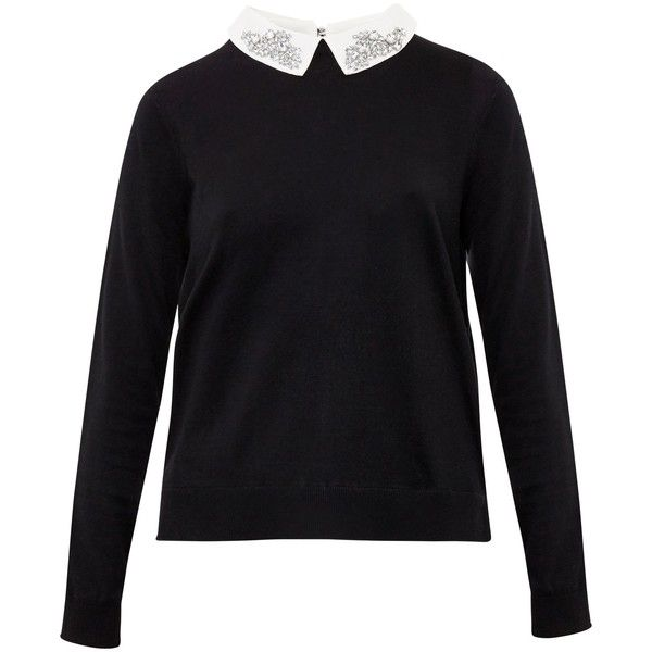 Ted Baker Miriah Woven Short Detail Jumper , Black (590 SAR) ❤ liked on Polyvore featuring tops, sweaters, black, lightweight long sleeve shirt, long sleeve woven shirt, short sleeve tops, long sleeve shirts and short shirts