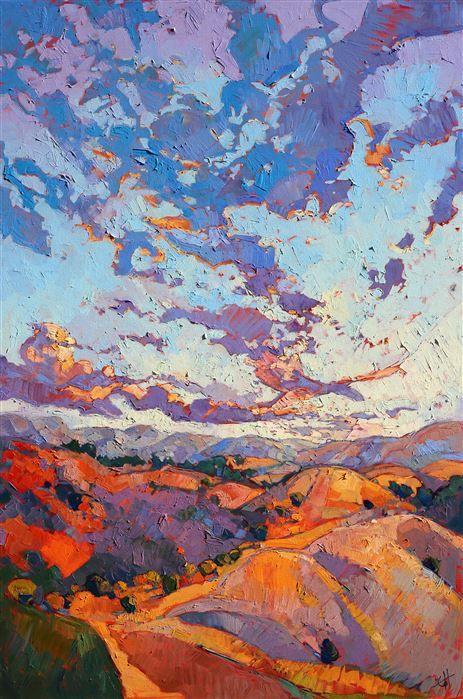 Orange Underpainting Vivid Oil Painting In Hanson S Signature Mosaic Style Fine Art Art Painting Landscape Art