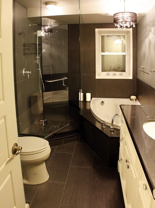 Small Master Bathroom Ideas Design, Pictures, Remodel, Decor And Ideas    Love The Corner Tub/shower
