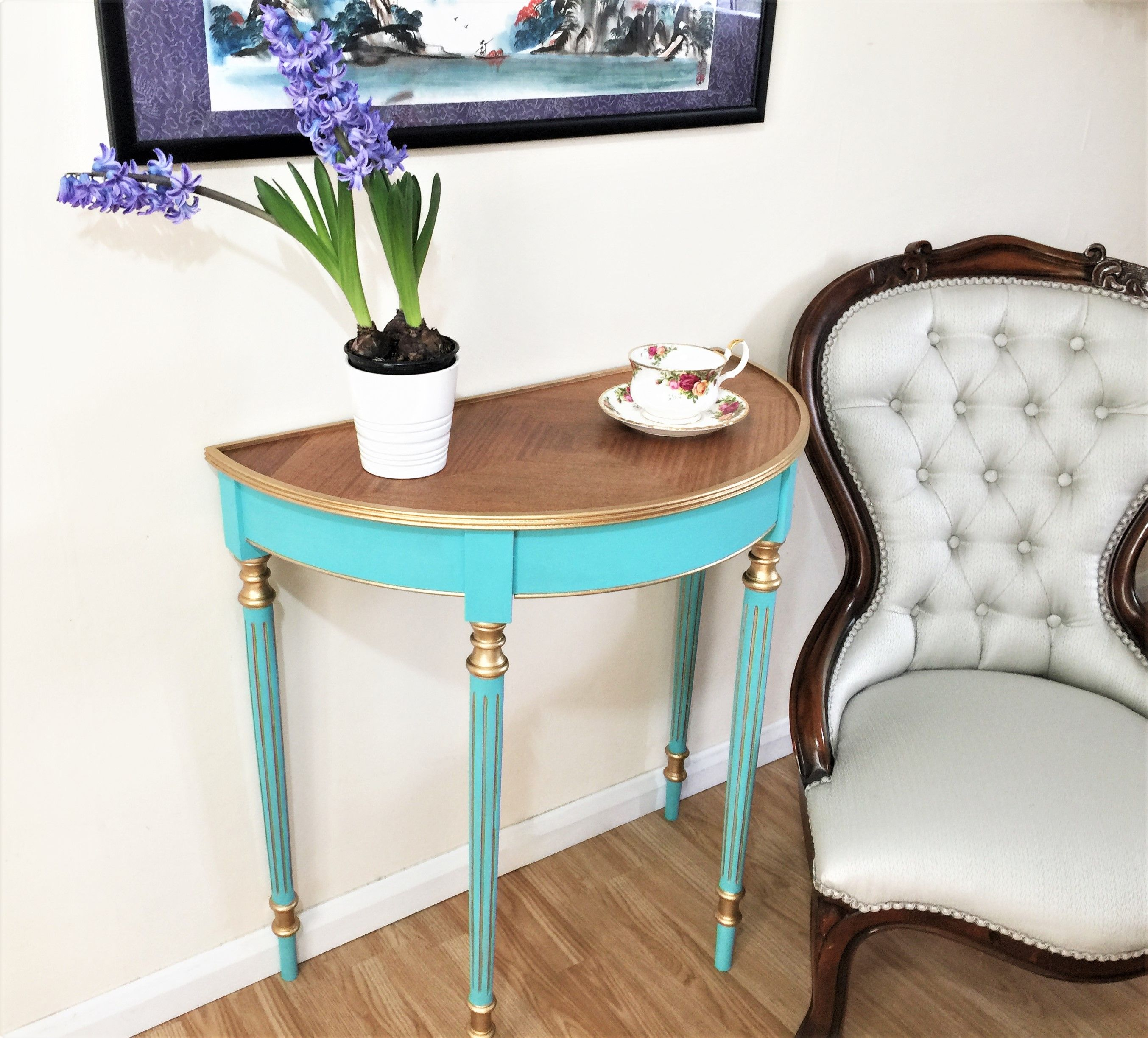 Half Moon Table With Original Inlay Top And Hand Painted In Gold