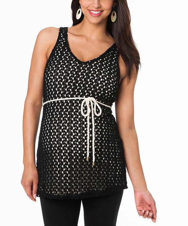 Take a look at this Motherhood Maternity Black Crocheted Maternity Sleeveless Tunic on zulily today!