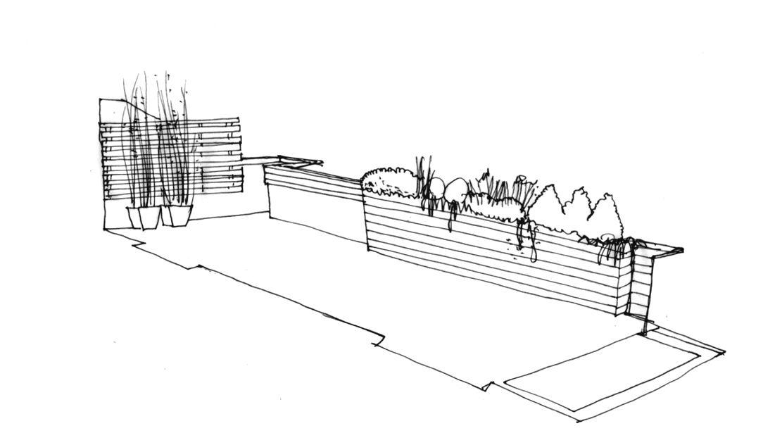 Dibujo de la propuesta para jard n en terraza en madrid for Planos de jardines
