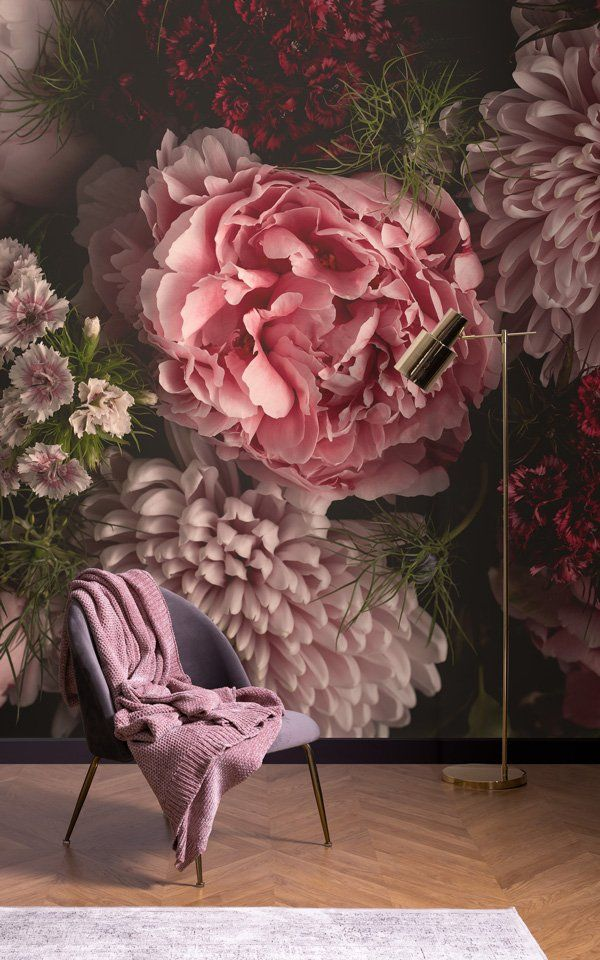 Oversized Floral Wallpaper | Dark Moody Design | MuralsWallpaper