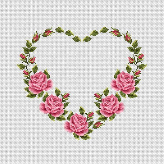 Heart cross stitch pattern | Wedding cross stitch | Floral modern counted x-stitch chart | Flower embroidery | Instant download PDF #423 #embroideryfloss