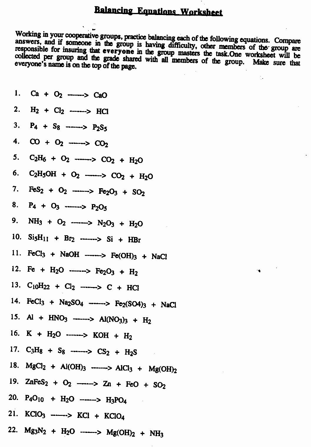 Balancing Chemical Equation Worksheet Inspirational 12