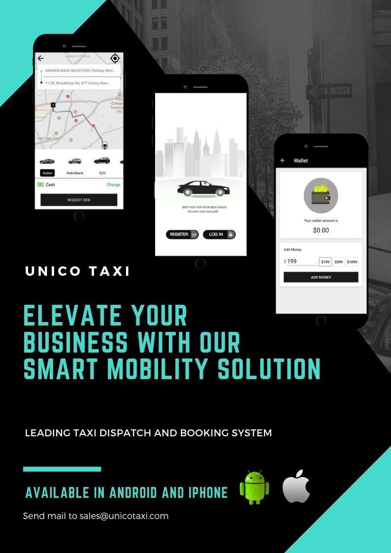 Elevate your Taxi Business with UnicoTaxi. Try free for 15