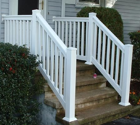 Vinyl Pvc Railing Installation Pictures Warwick Rail Front Porch | Front Porch Stair Railing | Single Step | Outdoor | Rail | Pressure Treated | White