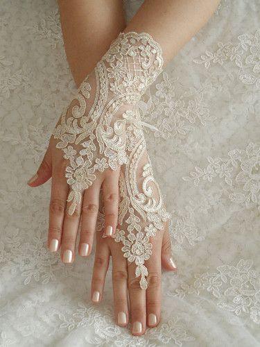 Wedding Gloves Lace Fingerless Champagne Cuff Bride Bridal